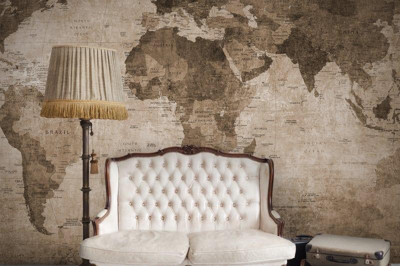 World Map, Brown tapéta Mobili Mania Design Bútorstúdió